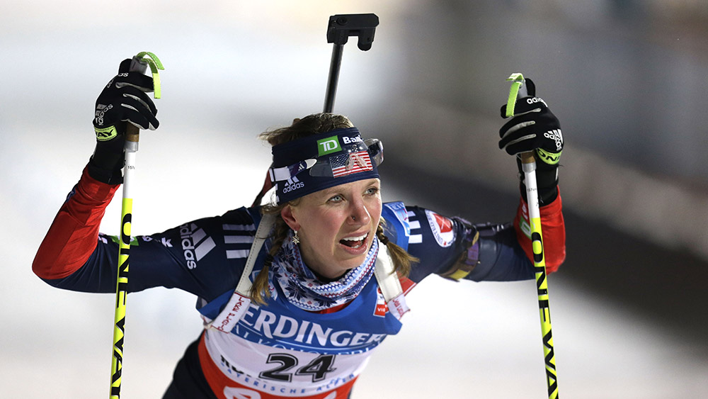 Annelies Cook of the United States reacts after the women's 7.5 km sprint competition at the Biathlon World Cup in Ruhpolding, southern Germany, on Friday, Jan. 11, 2013. (AP Photo/Matthias Schrader)
