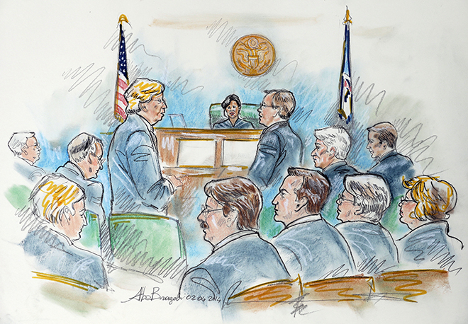 This courtroom sketch shows U.S. District Judge Arenda L. Wright Allen, top center, as she presides over a hearing on Virginia's ban on gay marriage in Norfolk, Va., Tuesday, Feb. 4, 2014. Attorneys for the plaintiffs, David Boies, third from left, and Ted Olson, standing left, presented the case as Virginia Solicitor General Stuart Raphael, standing right, presented for the state as Virginia Attorney General Mark Herring, second from right middle, listened. Plaintiffs Tony Shuttleworth, front fourth from right, Tim Bostic, third from right, Mary Towney, second from right and Carol Schall, right, also listen to the proceedings. (The Associated Press)