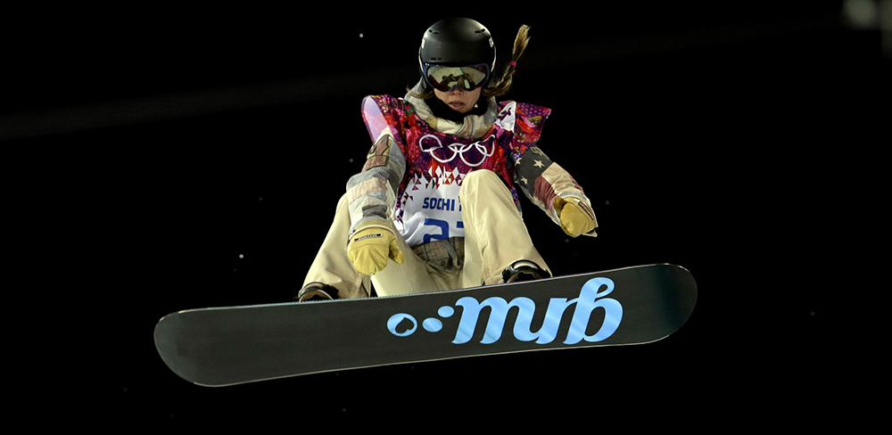 United States' Kaitlyn Farrington competes during the women's snowboard halfpipe final at the Rosa Khutor Extreme Park, at the 2014 Winter Olympics, Wednesday, Feb. 12, 2014, in Krasnaya Polyana, Russia.