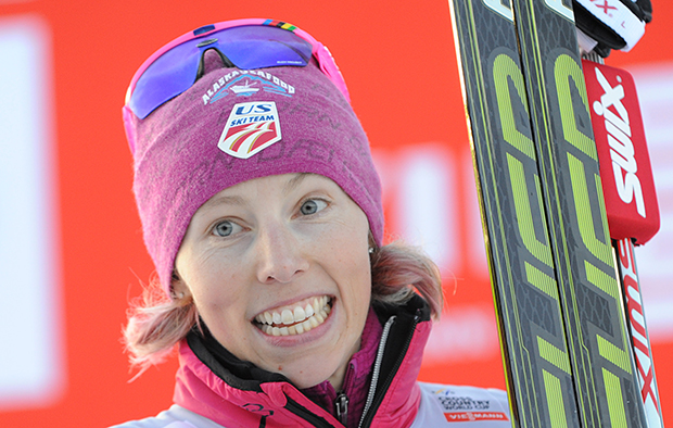 Kikkan Randall from the U.S. poses for photographers after the decoration following her win in the Ladies World Cup Cross Country Ski 1.5km Sprint Free event in Szklarska Poreba, Poland, Saturday, Jan. 18, 2014.