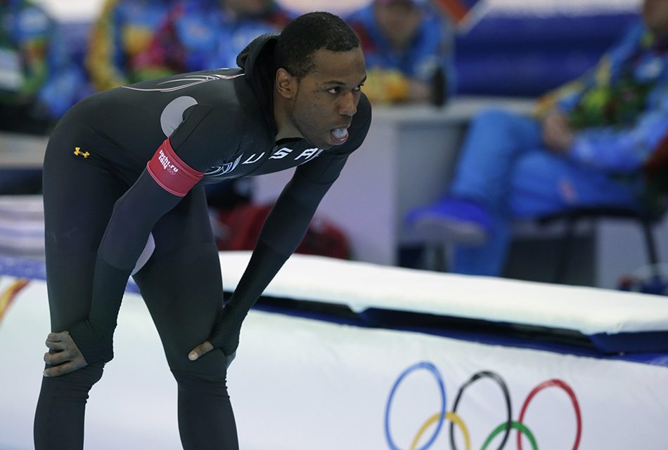 Shani Davis of the U.S. gestures in dejection after competing in the men's 1,000-meter speedskating race at the Adler Arena Skating Center during the 2014 Winter Olympics in Sochi, Russia, Wednesday, Feb. 12, 2014.