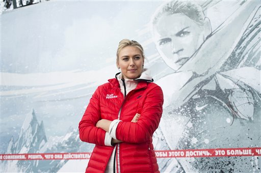 Russian tennis player Maria Sharapova poses for photographers while visiting her first court of Kafelnikov Tennis School in Riviera Park in Sochi, Russia, Wednesday, Feb. 5, 2014, prior to the start of the 2014 Winter Olympics. (AP Photo/Pavel Golovkin) 2014 Sochi Olympic Games;Winter Olympic games;Olympic games;Sports;Events;XXII Olympic Winter Games