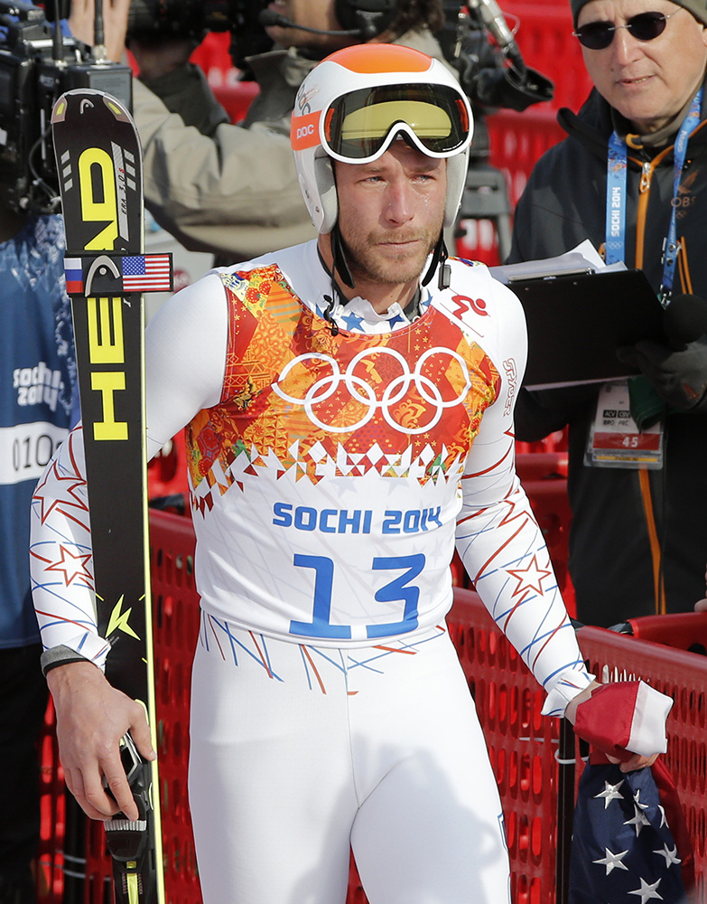 Men's super-G joint bronze medal winner Bode Miller of the United States walks away in tears after his television interview at the Sochi 2014 Winter Olympics, Sunday, Feb. 16, 2014, in Krasnaya Polyana, Russia. (AP Photo/Christophe Ena) 2014 Sochi Olympic Games;Winter Olympic games;Olympic games;Spor