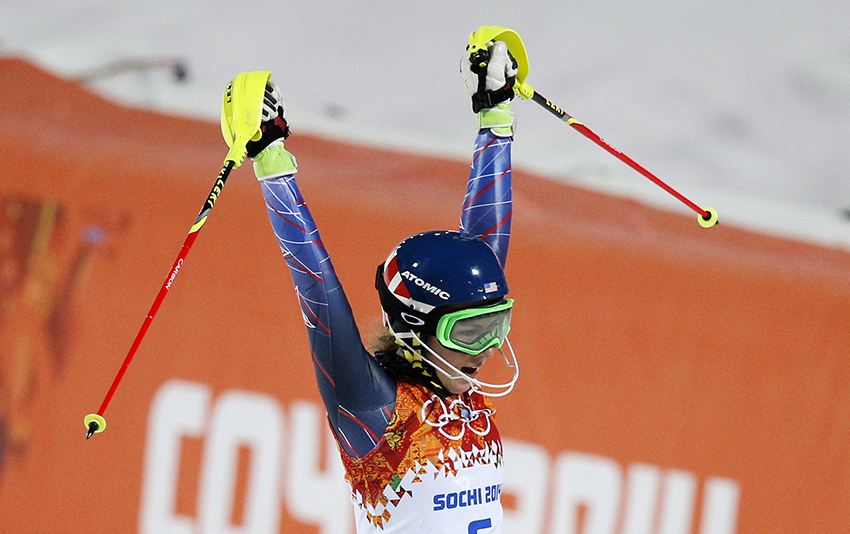Gold medal winner Mikaela Shiffrin of the United States celebrates as she finishes the second run of the women's slalom at the Sochi 2014 Winter Olympics, Friday, Feb. 21, 2014, in Krasnaya Polyana, Russia.(AP Photo/Christophe Ena) 2014 Sochi Olympic Games;Winter Olympic games;Olympic games;Spor
