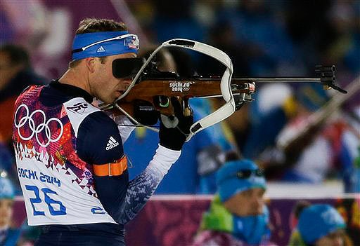 Lowell Bailey shoots during the men's biathlon 10k sprint at the 2014 Winter Olympics on Feb. 8. 2014 Sochi Olympic Games;Winter Olympic games;Olympic games;Spor