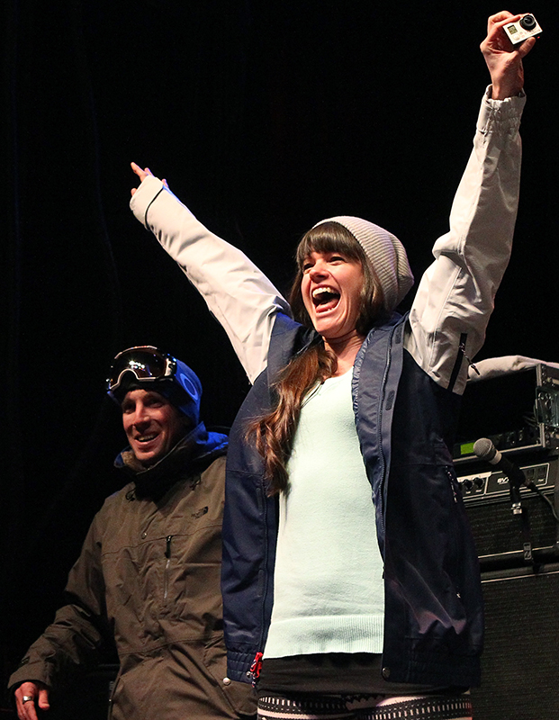 Keri Herman celebrates after being announced to the U.S. Olympic freeskiing team following the U.S. Grand Prix Saturday, Jan. 18, 2014, in Park City, Utah.