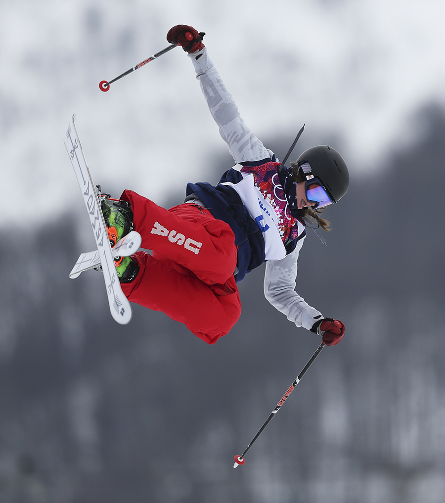 Devin Logan of the United States takes a jump during the women's freestyle skiing slopestyle final at the Rosa Khutor Extreme Park, at the 2014 Winter Olympics, Tuesday, Feb. 11, 2014, in Krasnaya Polyana, Russia. (AP Photo/Sergei Grits) 2014 Sochi Olympic Games;Winter Olympic games;Olympic games;Spor
