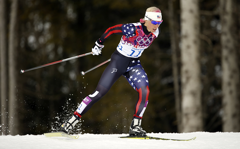 United States' Kikkan Randall competes during the women's qualifications of the cross-country sprint at the 2014 Winter Olympics, Tuesday, Feb. 11, 2014, in Krasnaya Polyana, Russia.