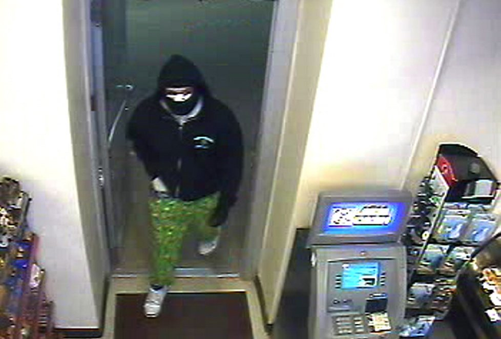 MANHUNT: Surveillance camera photo of suspected armed robber of the Circle K Convenience Store and Gas Station in Winthrop.