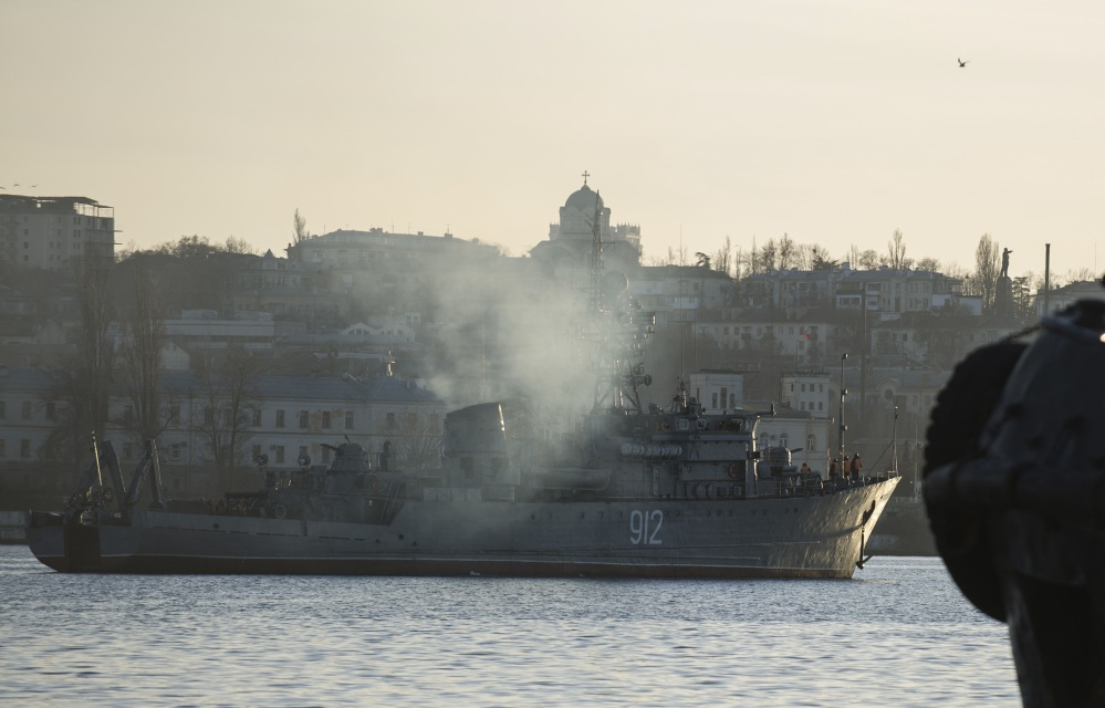 A Russian navy minesweeper is seen in the harbor of Sevastopol, Ukraine, in the strategic region of Crimea.