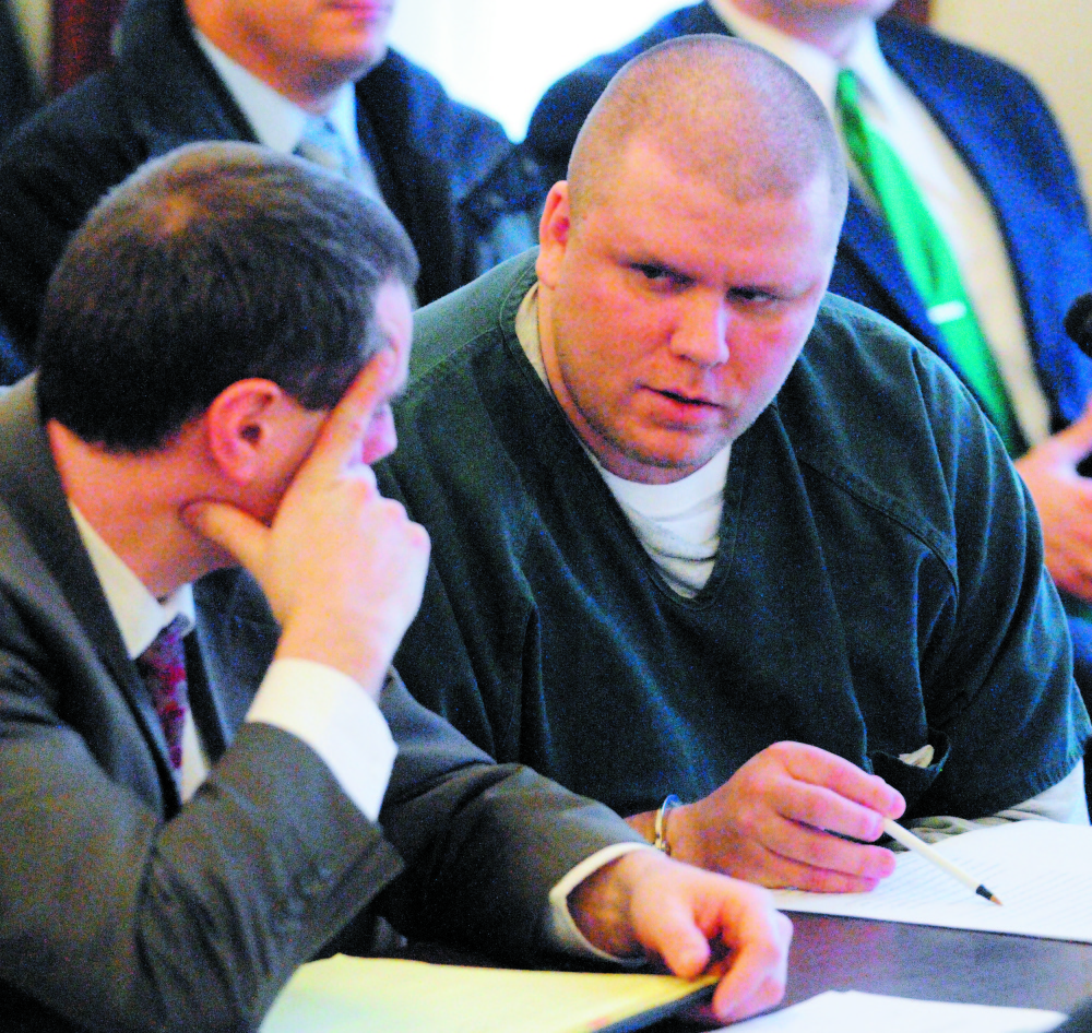 Attorney Kevin Sullivan, left, sits with Peter George Bathgate II during Bathgate's Jan. 27, 2012, sentencing hearing in Kennebec County Superior Court. Bathgate pleaded guilty to the intentional and knowing murder of Peter Allen and received a 45-year prison sentence. On Thursday, Bathgate was back in court asking for the conviction to be vacated and a new trial.