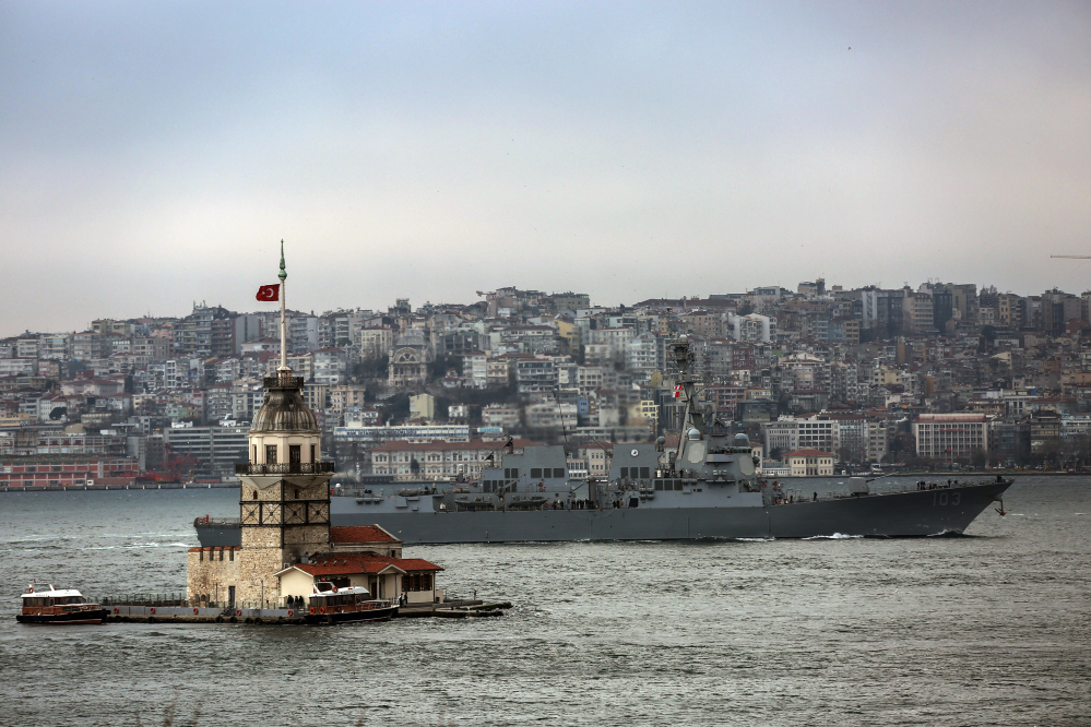 The U.S. destroyer USS Truxtun sails through the Bosporus Strait in Istanbul, Turkey, Friday, amid the stand-off over Russia's military incursion into Ukraine.