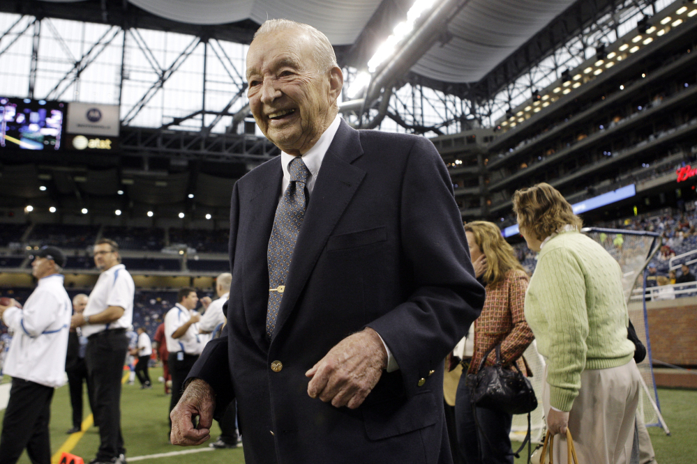 Detroit Lions owner and chairman William Clay Ford died of pneumonia at his home. Ford, who helped steer Ford Motor Co. for more than five decades, was 88. He was the last surviving grandson of company founder Henry Ford.