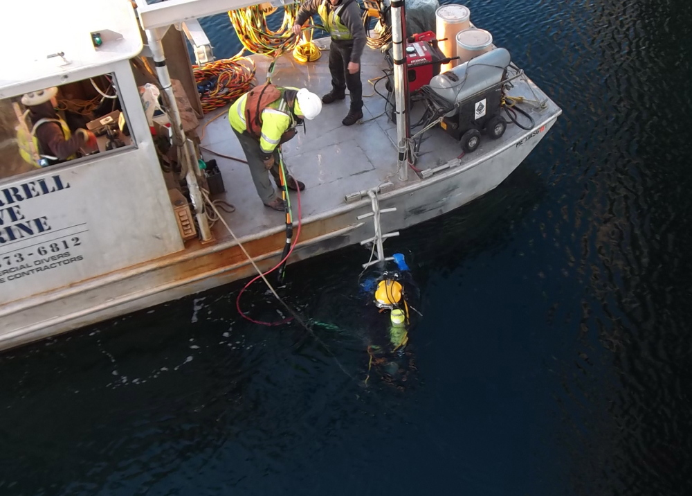 A diver located a protective fender panel on the bottom of the Piscataqua River on Saturday. The panel protecting a pier on the Memorial Bridge was sheared off when it was struck by the tanker ship Seapride on Friday.