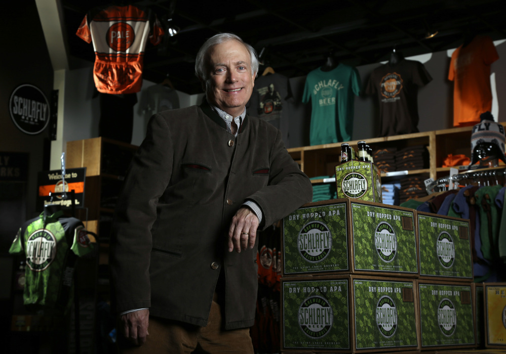 Tom Schlafly, co-founder of the brewery that produces the Schlafly brand of beers, stands in the gift shop at Schlafly Bottleworks in Maplewood, Mo.