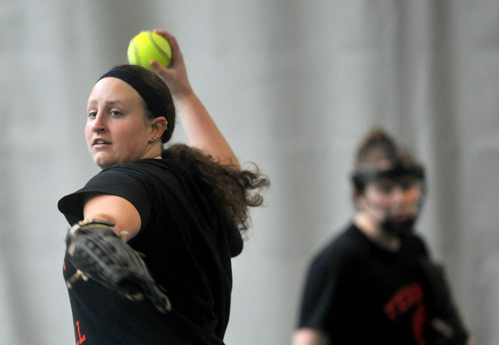 BACK AT IT: Thomas College softball player Kelsey Crowe is back after sitting out last season with a broken foot.