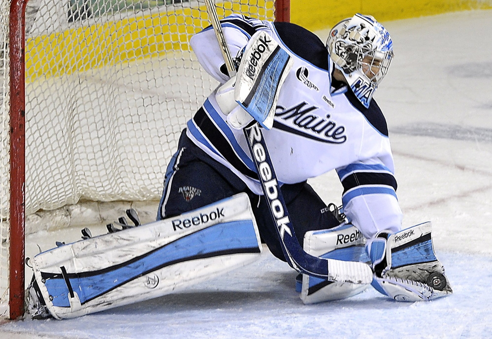 MAKING THE PLAYS: Maine goaltender Martin Ouellette has a 2.22 goals-against average and a .927 save percentage this season. He also has four shutouts.