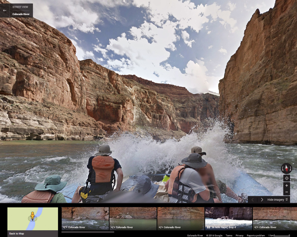 Google partnered with American Rivers on a project to showcase the whitewater rapids and towering red canyon walls of the Grand Canyon. This image is from Street View.