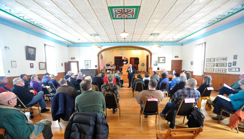 Annual tradition: Benton residents fill the Benton Grange on Saturday for the Town Meeting.