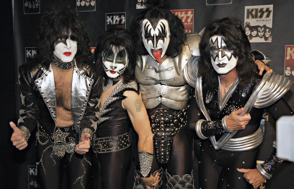 Members of Kiss, from left, Paul Stanley, Eric Singer, Gene Simmons and Tommy Thayer, pose for a photograph in 2008 during a news conference to promote the start of their KISS Alive/35 European Tour in Oberhausen, Germany.