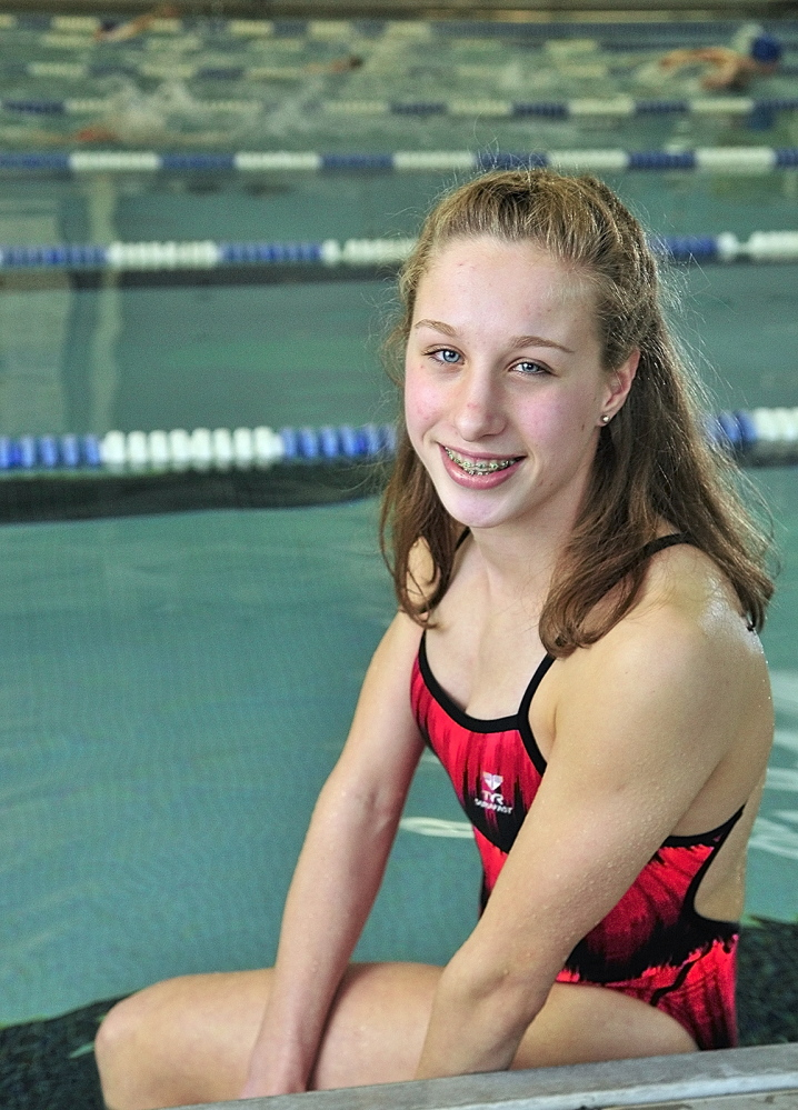 Staff photo by Joe Phelan ALL-AROUND ATHLETE: Cony's Anne Guadalupi is the Kennebec Journal Girls Swimmer of the Year.