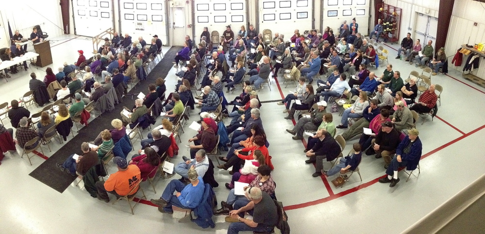 Good turn out: A large crowd attends the 163rd West Gardiner Town Meeting on Saturday at the West Gardiner Fire Station.