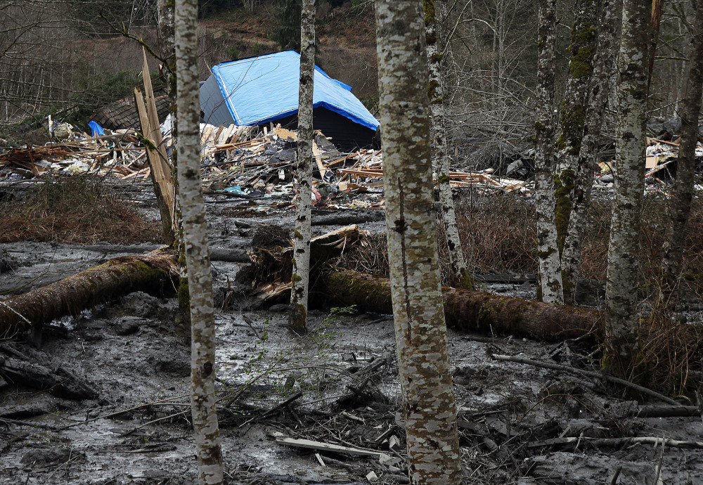 A fatal mudslide brought debris down the Stillaguamish River near Oso, Wash., on Saturday, stopping the flow of the river and destroying several homes. At least three people were killed.