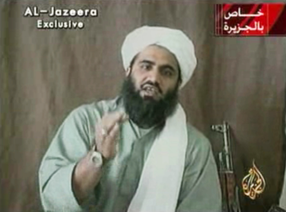 This undated image made from video and provided by Al-Jazeera shows Sulaiman Abu Ghaith, who still maintains that there was justification for the Sept. 11, 2001, attacks orchestrated by al-Qaida upon the United States.