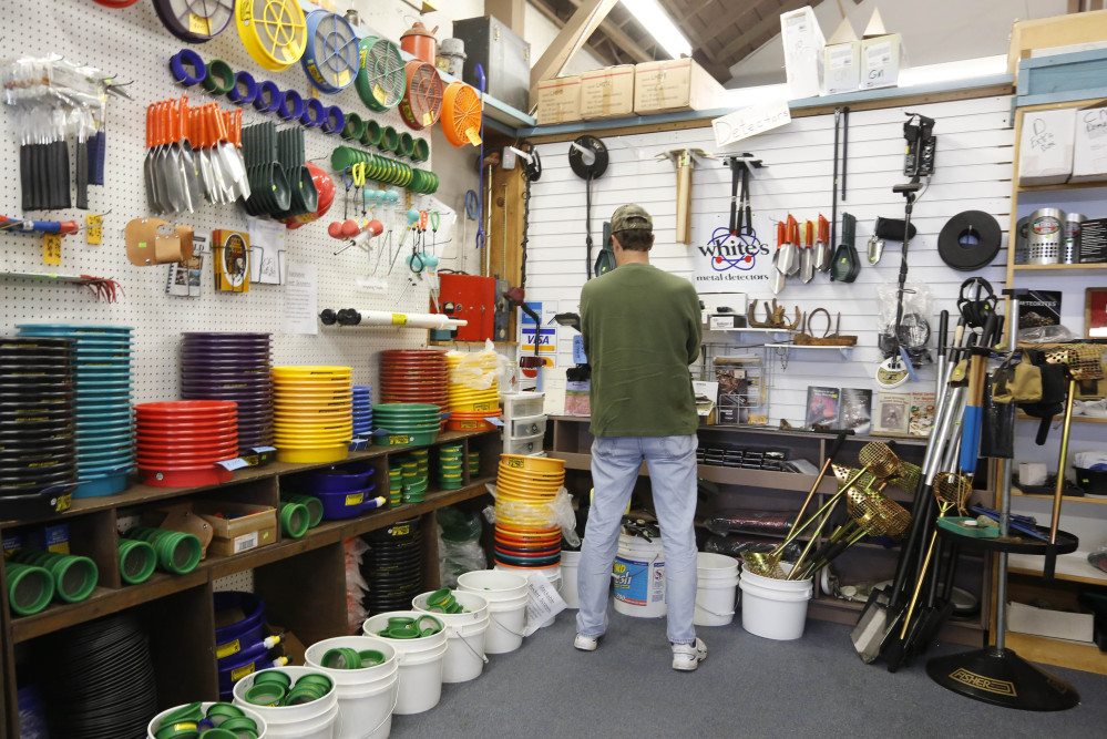 The various tools needed for gold panning are displayed for sale at the Pioneer Mining Supply Co., in Auburn, Calif.