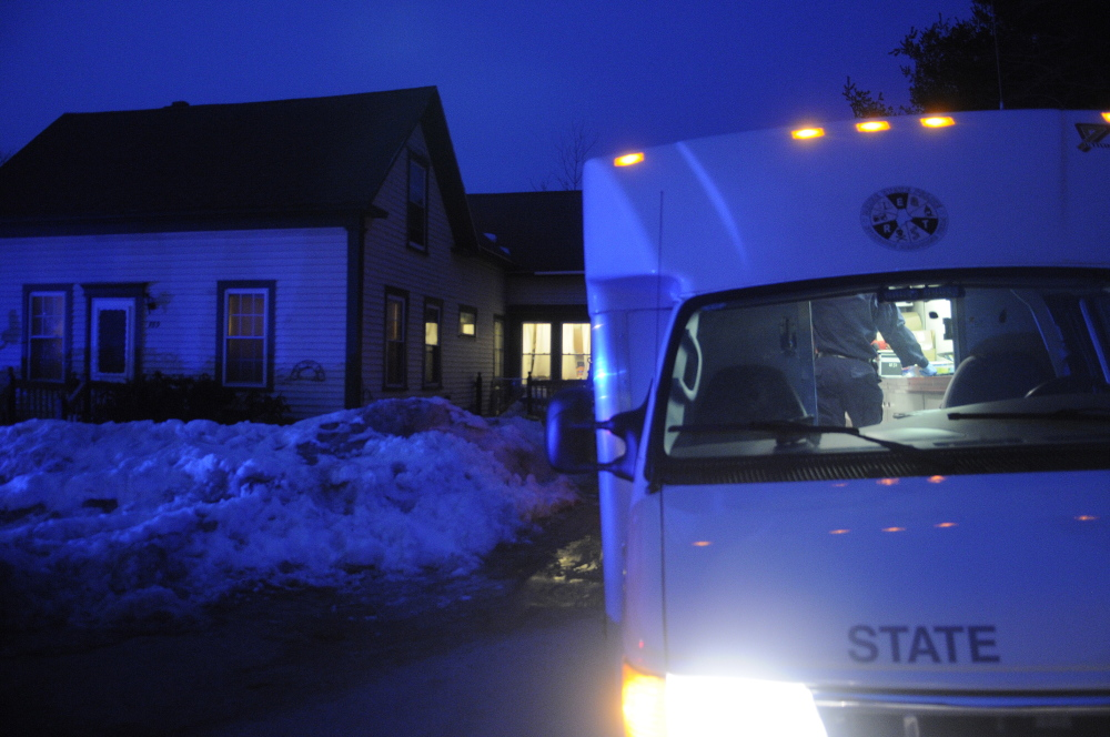 Staff file photo by Andy Molloy State Police and Deputy Sheriff's are investigating the death of a woman at a residence on Route 17 in Readfield. Deputies were called to the home at 3:30 p.m. and requested the assistance of the State Police Major Crimes Unit.