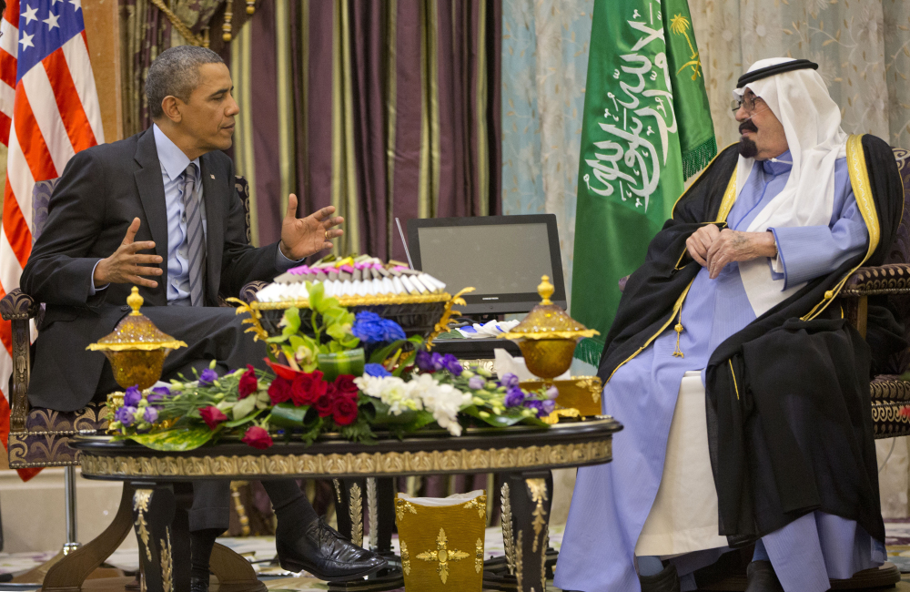 President Barack Obama meets with Saudi King Abdullah at Rawdat Khuraim, an oasis 62 miles northwest of Riyadh where the king's private desert encampment is located.