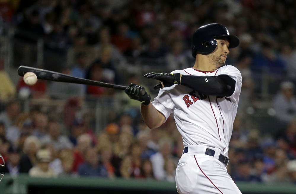 Red Sox center fielder Grady Sizemore bats iagainst the Minnesota Twins on Thursday in Fort Myers, Fla. The Red Sox won 4-1.