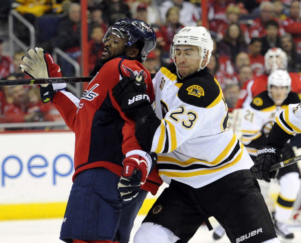 Bruins center Chris Kelly tangles with Capitals right wing Joel Ward in the first period Saturday at Washington.