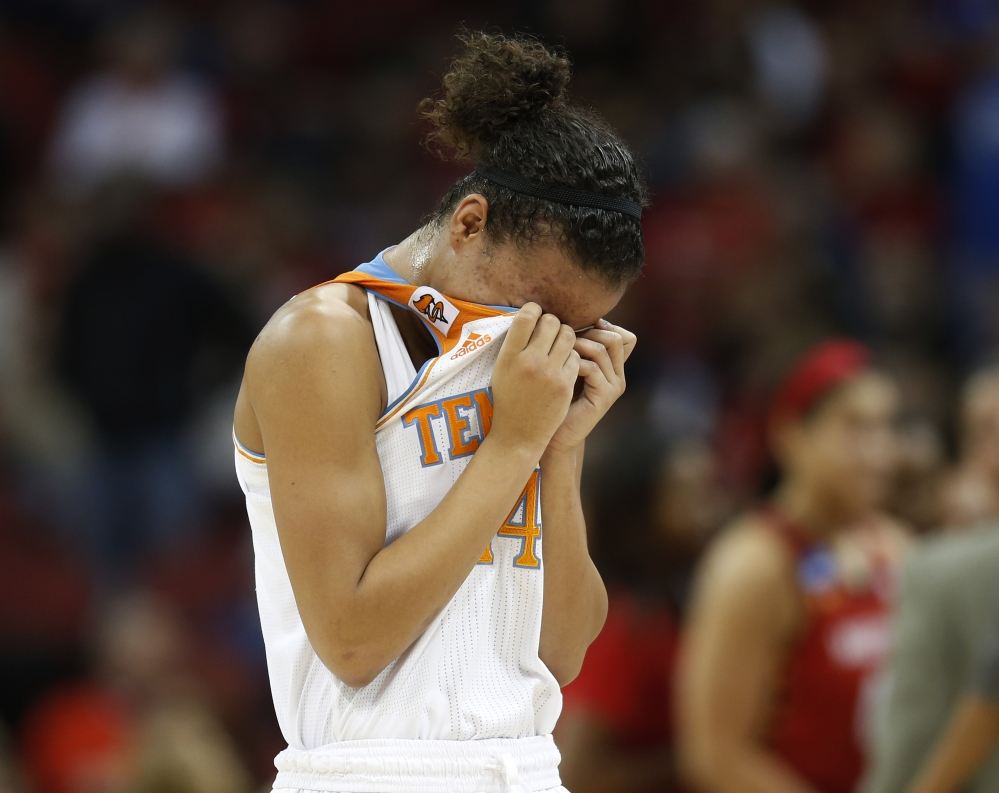 Tennessee guard Andraya Carter leaves the court after losing 73-62 to Maryland in a regional semifinal game at the NCAA women's basketball tournament in Louisville, Ky.