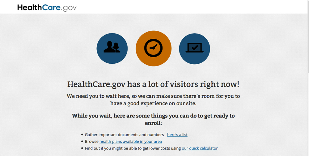 This screen grab taken from the Health Care Marketplace website shows a message asking new visitors to stay on during the login process of the Health Care Marketplace website on Monday. Technical problems were preventing last-minute users from signing up on the government's health insurance website Monday.