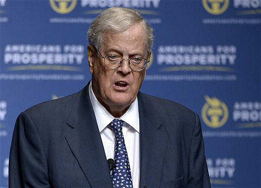 Americans for Prosperity Foundation Chairman David Koch speaks in Orlando, Fla. Koch and his brother Charles have financed more than $30 million worth of anti-Democratic candidate advertising.