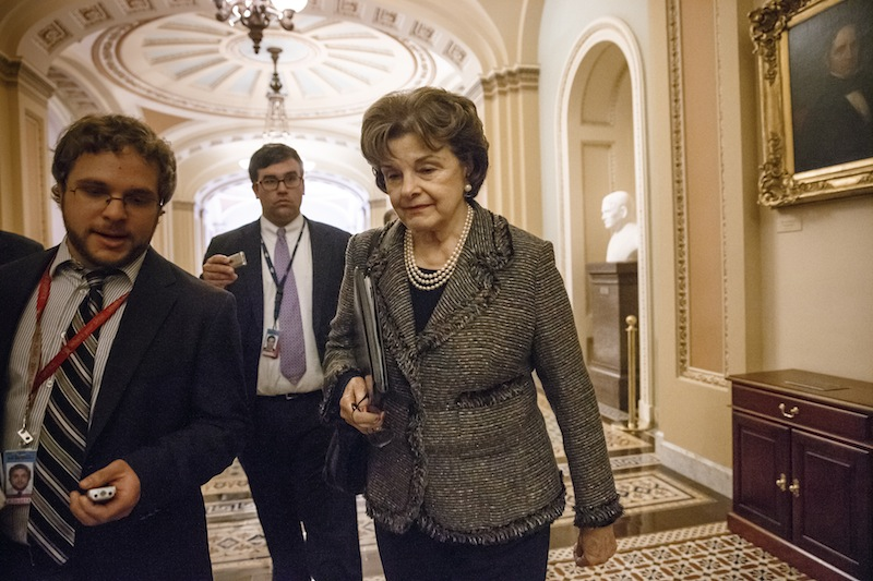 Sen. Dianne Feinstein, D-Calif., chair of the Senate Intelligence Committee, leaves the chamber at the Capitol in Washington, Wednesday, March 5, 2014. The CIA is investigating whether its officers improperly monitored members of the Senate Intelligence Committee, which oversees the intelligence agency, U.S. officials confirmed Wednesday. Feinstein told reporters that the CIA inspector general is investigating how her committee investigated allegations of CIA abuse in a Bush-era detention and interrogation program.