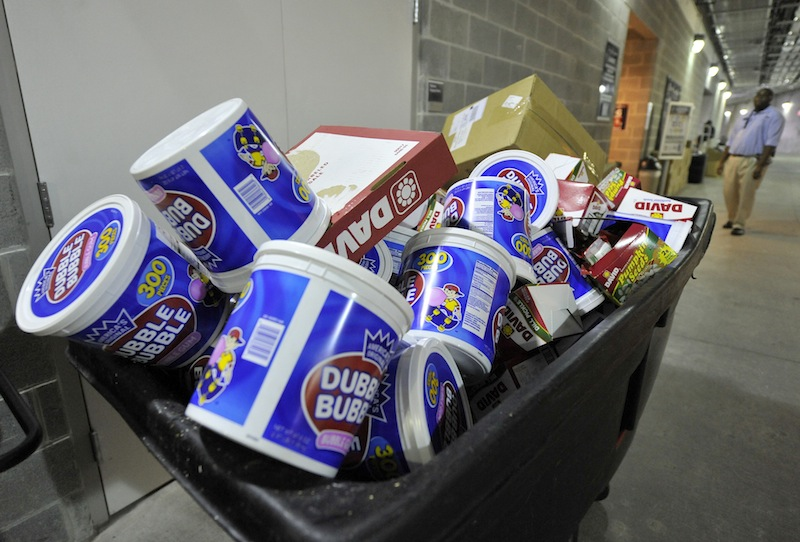 Gum-chewing has a little more acceptance on professional baseball fields, as evidenced by this garbage bin of discarded containers at Yankee Stadium in 2010.