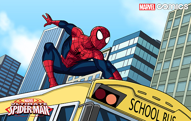 """This image released by Marvel Comics shows a scene from the first all-ages Infinite Comics series, """"Marvel Universe Ultimate Spider-Man,"""" airing Sunday mornings inside the Marvel Universe on Disney XD."""