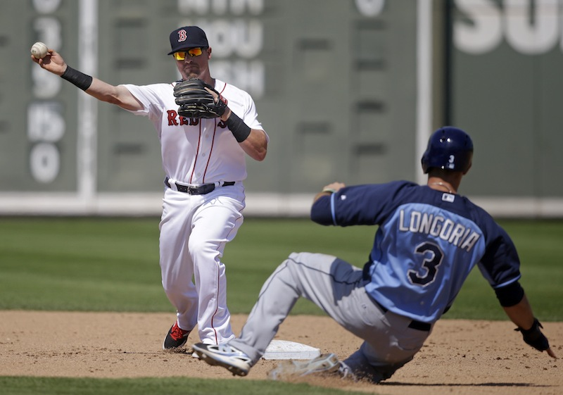 Boston Red Sox second baseman Mike McCoy throws to first as Tampa Bay Rays third baseman Evan Longoria (3) is forced at second on a double play off the bat of Rays' Wil Myers in the sixth inning of an exhibition baseball game in Fort Myers, Fla., on Monday.