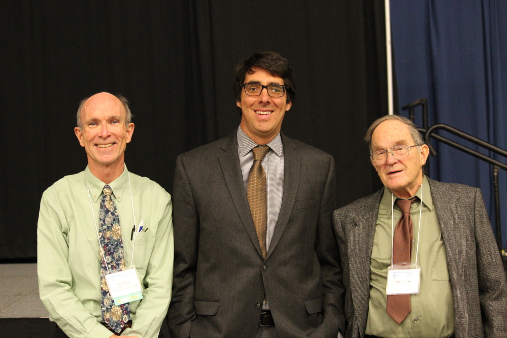 CONFERENCE PARTICIPANTS: From left, David Hart, director of the Senator George J. Mitchell Center, University of Maine; Mark Borsuk, associate professor of engineering at Dartmouth College; and Robert Kates, presidential professor of sustainability science at the University of Maine all participated Tuesday in a water sustainability conference in Augusta.