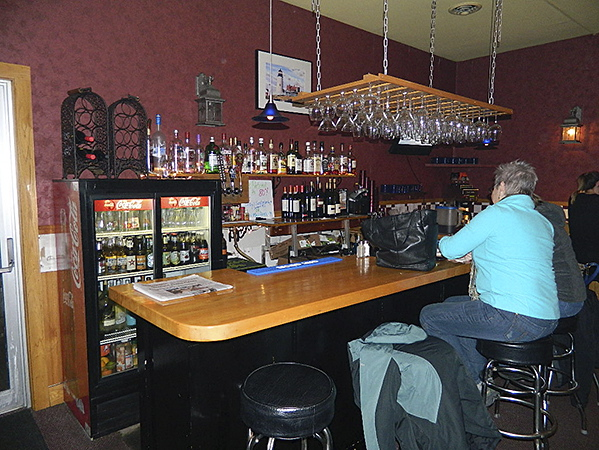 Bar area at Bricks Restaurant in Rockland