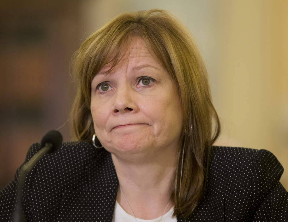 General Motors CEO Mary Barra listens as she testifies on Capitol Hill in Washington on Wednesday before the Senate Commerce, Science and Transportation Subcommittee.