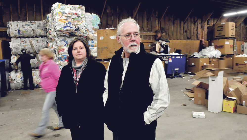 RECYCLE BONUS: Randy Gray, director of Skowhegan Recycling Center, speaks Thursday about new materials coming from the town of Cornvilley. At left is Cynthia Kirk, administrative assistant for the solid waste department.