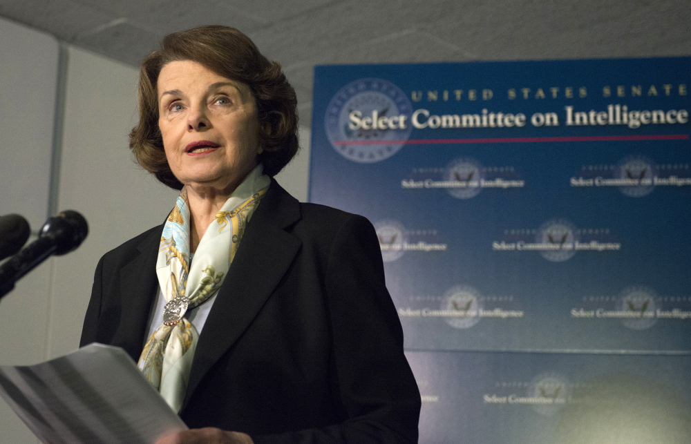 Senate Intelligence Committee Chair Sen. Dianne Feinstein, D-Calif. talks to the media after a closed-door meeting on Capitol Hill in Washington on Thursday.