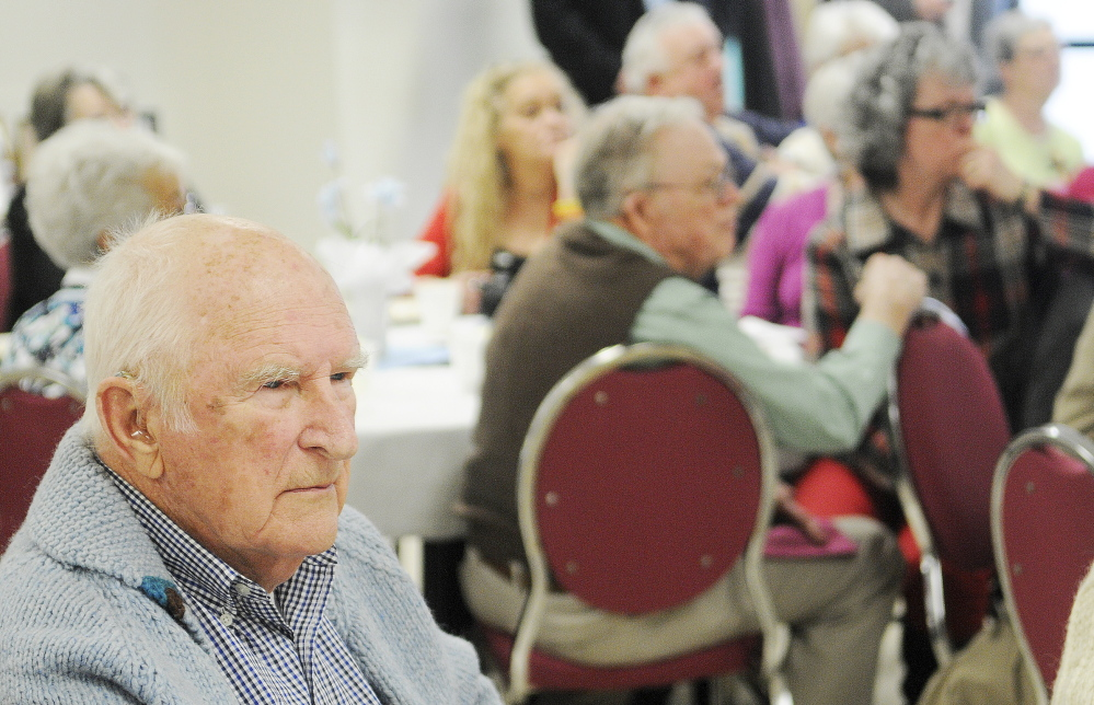 Staff photo by Andy Molloy David Locke of South Gardiner listens to a presentation Sunday at the annual luncheon of Parents of Murdered Children in Augusta. Locke is the grandfather of Brooke Locke, 21, who was murdered in November 2013 at a Bangor apartment that she shared with the alleged killer.