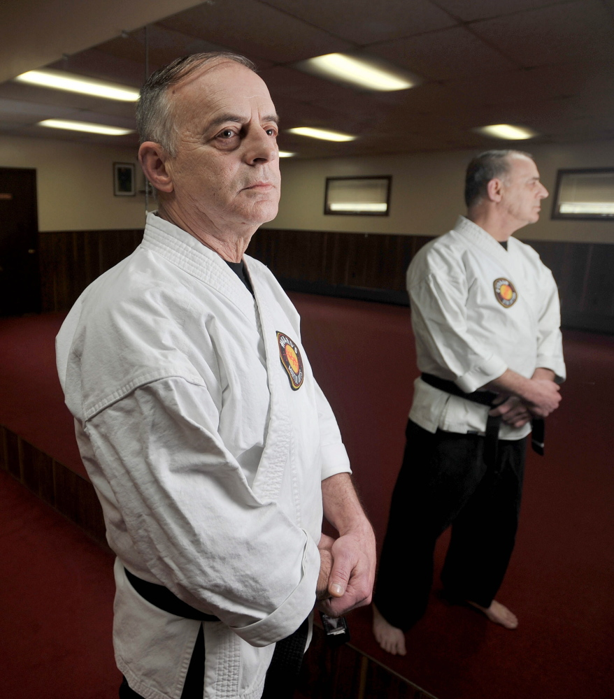 Staff photo by Michael G. Seamans Ron Raymond, 65, trains at Huard's Jujitsu and Karate Gym in Winslow on Saturday.