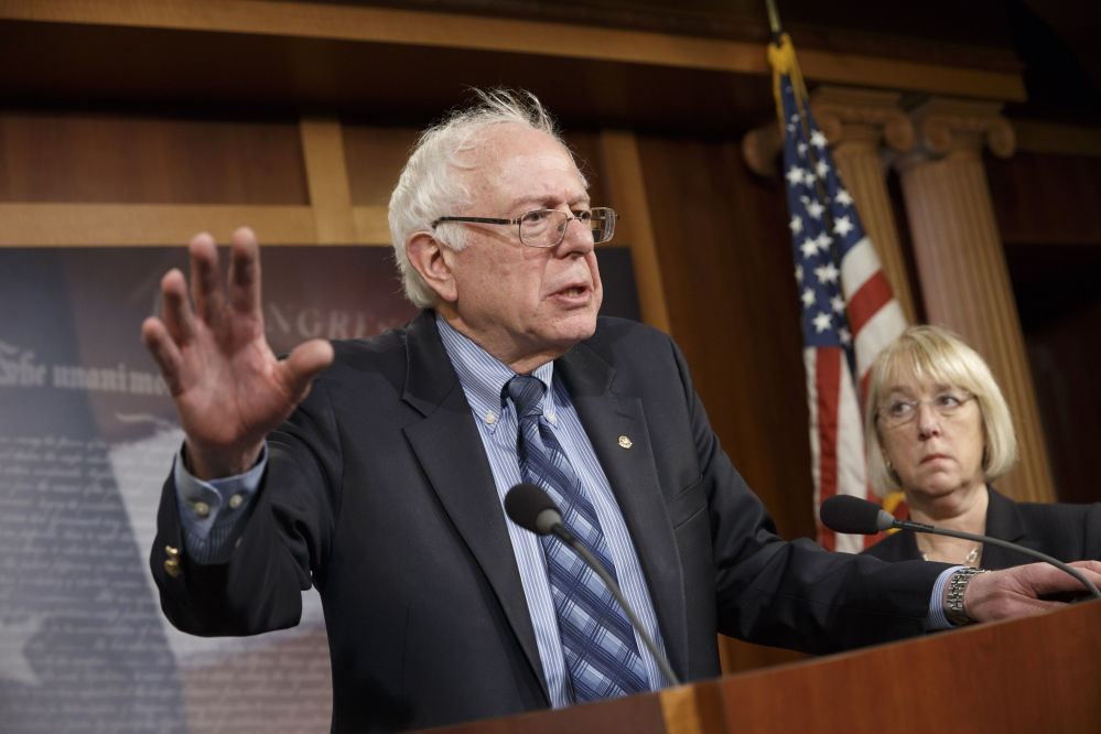 Sen. Bernie Sanders, I-Vt., chairman of the Senate Veterans Affairs Committee, talks to reporters at the Capitol in Washington recently.