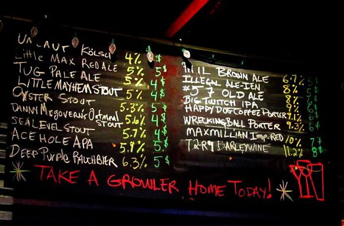 This was the chalk board at Three Tides in Belfast, Maine before an inspector told them they had to erase the alcohol content of each beer, per a 1937 law. On Tuesday, state legislators changed that law.