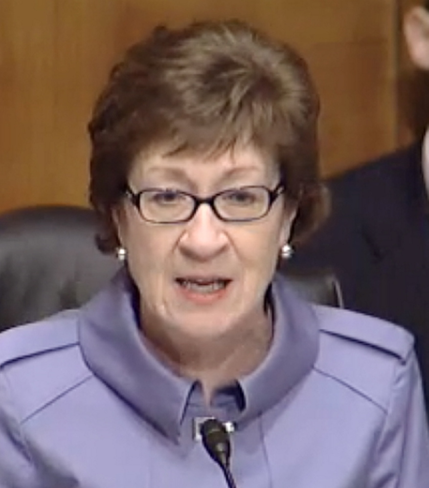 Sen. Susan Collins, R-Maine, speaks during a Congressional hearing Wednesday.